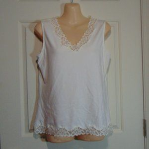 Coldwater Creek White Lace Tank Small